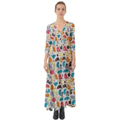 Funny Cute Colorful Cats Pattern Button Up Boho Maxi Dress by EDDArt