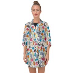 Funny Cute Colorful Cats Pattern Half Sleeve Chiffon Kimono by EDDArt