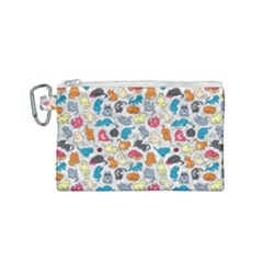 Funny Cute Colorful Cats Pattern Canvas Cosmetic Bag (small)