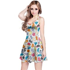 Funny Cute Colorful Cats Pattern Reversible Sleeveless Dress