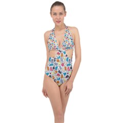 Funny Cute Colorful Cats Pattern Halter Front Plunge Swimsuit