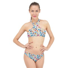 Funny Cute Colorful Cats Pattern High Neck Bikini Set