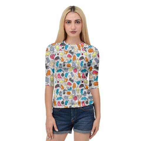 Funny Cute Colorful Cats Pattern Quarter Sleeve Raglan Tee by EDDArt