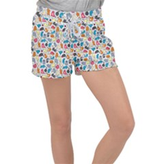 Funny Cute Colorful Cats Pattern Women s Velour Lounge Shorts