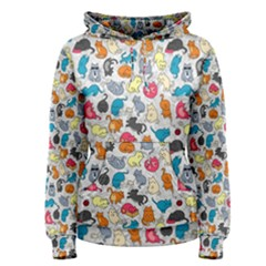 Funny Cute Colorful Cats Pattern Women s Pullover Hoodie