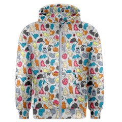 Funny Cute Colorful Cats Pattern Men s Zipper Hoodie