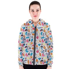 Funny Cute Colorful Cats Pattern Women s Zipper Hoodie