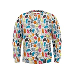 Funny Cute Colorful Cats Pattern Kids  Sweatshirt
