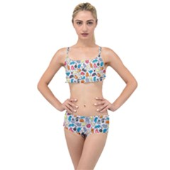 Funny Cute Colorful Cats Pattern Layered Top Bikini Set