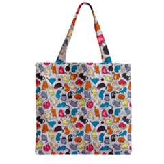 Funny Cute Colorful Cats Pattern Zipper Grocery Tote Bag