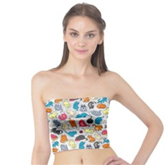Funny Cute Colorful Cats Pattern Tube Top by EDDArt