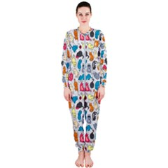 Funny Cute Colorful Cats Pattern Onepiece Jumpsuit (ladies)