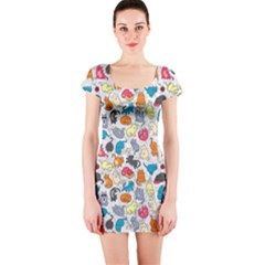 Funny Cute Colorful Cats Pattern Short Sleeve Bodycon Dress