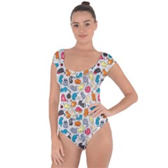 Funny Cute Colorful Cats Pattern Short Sleeve Leotard