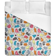Funny Cute Colorful Cats Pattern Duvet Cover (california King Size)