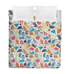 Funny Cute Colorful Cats Pattern Duvet Cover Double Side (full/ Double Size) by EDDArt