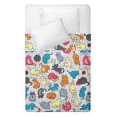 Funny Cute Colorful Cats Pattern Duvet Cover Double Side (single Size) by EDDArt