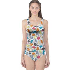 Funny Cute Colorful Cats Pattern One Piece Swimsuit by EDDArt