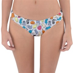 Funny Cute Colorful Cats Pattern Reversible Hipster Bikini Bottoms by EDDArt