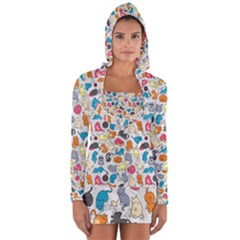 Funny Cute Colorful Cats Pattern Long Sleeve Hooded T-shirt by EDDArt