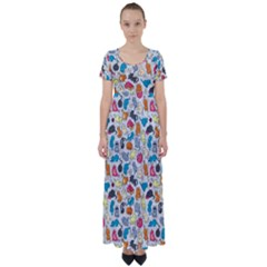 Funny Cute Colorful Cats Pattern High Waist Short Sleeve Maxi Dress by EDDArt