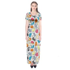 Funny Cute Colorful Cats Pattern Short Sleeve Maxi Dress by EDDArt