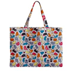 Funny Cute Colorful Cats Pattern Medium Tote Bag by EDDArt