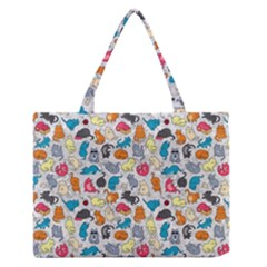 Funny Cute Colorful Cats Pattern Zipper Medium Tote Bag by EDDArt