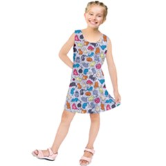 Funny Cute Colorful Cats Pattern Kids  Tunic Dress by EDDArt