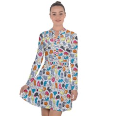 Funny Cute Colorful Cats Pattern Long Sleeve Panel Dress