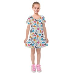 Funny Cute Colorful Cats Pattern Kids  Short Sleeve Velvet Dress