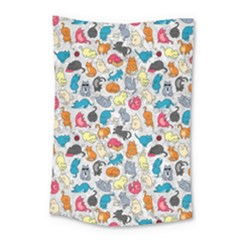 Funny Cute Colorful Cats Pattern Small Tapestry