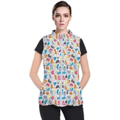 Funny Cute Colorful Cats Pattern Women s Puffer Vest
