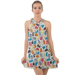 Funny Cute Colorful Cats Pattern Halter Tie Back Chiffon Dress