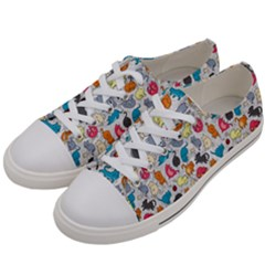 Funny Cute Colorful Cats Pattern Women s Low Top Canvas Sneakers by EDDArt