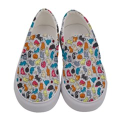 Funny Cute Colorful Cats Pattern Women s Canvas Slip Ons