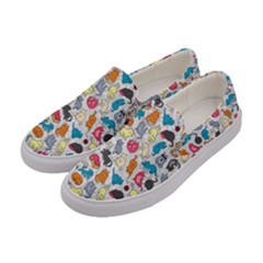 Funny Cute Colorful Cats Pattern Women s Canvas Slip Ons by EDDArt