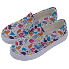 Funny Cute Colorful Cats Pattern Kids  Canvas Slip Ons by EDDArt