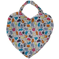 Funny Cute Colorful Cats Pattern Giant Heart Shaped Tote