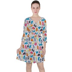 Funny Cute Colorful Cats Pattern Ruffle Dress