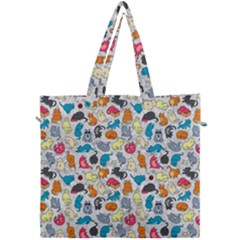 Funny Cute Colorful Cats Pattern Canvas Travel Bag