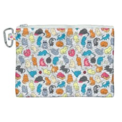 Funny Cute Colorful Cats Pattern Canvas Cosmetic Bag (xl)