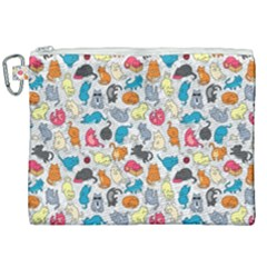 Funny Cute Colorful Cats Pattern Canvas Cosmetic Bag (xxl) by EDDArt