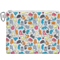 Funny Cute Colorful Cats Pattern Canvas Cosmetic Bag (xxxl) by EDDArt