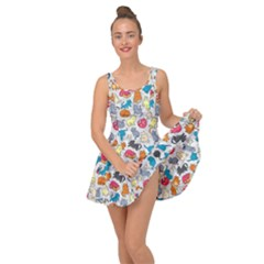 Funny Cute Colorful Cats Pattern Inside Out Casual Dress by EDDArt