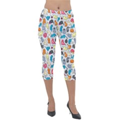 Funny Cute Colorful Cats Pattern Lightweight Velour Capri Leggings  by EDDArt