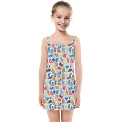 Funny Cute Colorful Cats Pattern Kids Summer Sun Dress by EDDArt