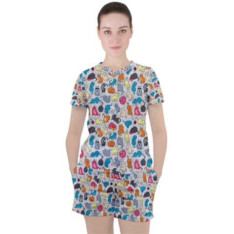 Funny Cute Colorful Cats Pattern Women s Tee And Shorts Set by EDDArt