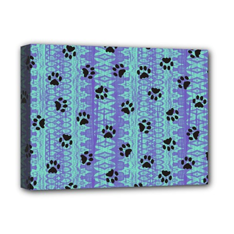 Footprints Cat Black On Batik Pattern Teal Violet Deluxe Canvas 16  X 12