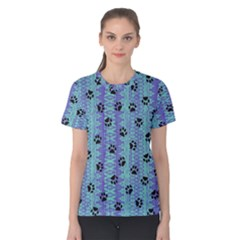 Footprints Cat Black On Batik Pattern Teal Violet Women s Cotton Tee by EDDArt